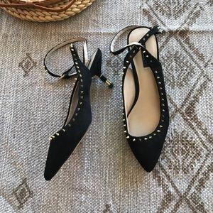 Zara black studded pointed toe kitten heels 39